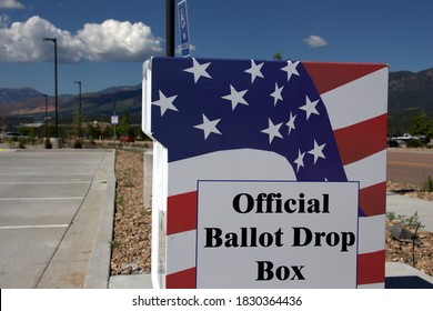 Ballot Box for Election - All Mail-In Voting - Pikes Peak in the Background - Official Drop Box