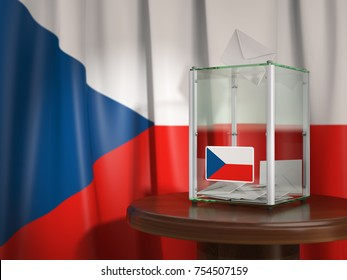 Ballot box with flag of Czech republic and voting papers. Czech presidential or parliamentary election. 3d illustration