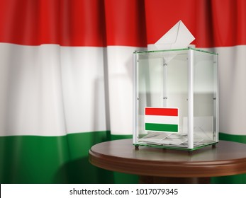 Ballot box with flag of Hungary and voting papers. Hungarian presidential or parliamentary election.  3d illustration