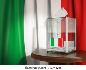 Ballot box with flag of Italy and voting papers. Italian presidential or parliamentary election. 3d illustration