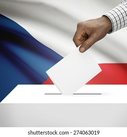 Ballot box with flag on background - Czech Republic
