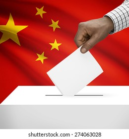 Ballot box with flag on background - People's Republic of China