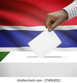 Ballot box with flag on background - Gambia