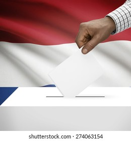 Ballot box with flag on background - Netherlands