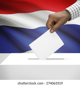 Ballot box with flag on background - Thailand