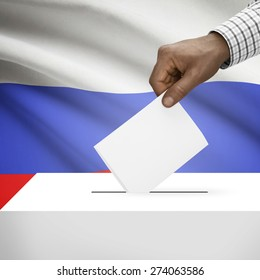 Ballot box with flag on background - Russia