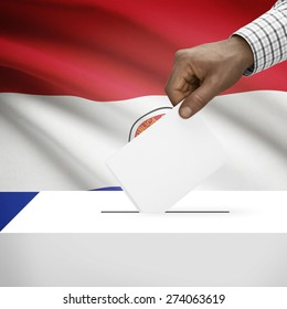 Ballot box with flag on background - Paraguay