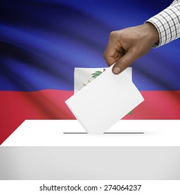 Ballot box with flag on background - Haiti