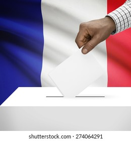Ballot box with flag on background - France