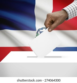 Ballot box with flag on background - Dominican Republic