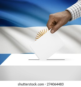 Ballot box with flag on background - Argentina
