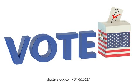 ballot box with flag of USA isolated on white background
