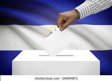 Ballot box with national flag on background - El Salvador