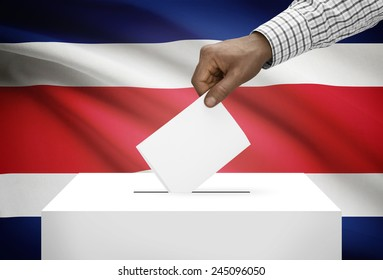 Ballot box with national flag on background - Costa Rica