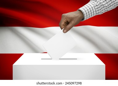 Ballot box with national flag on background - Austria