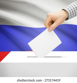 Ballot box with national flag on background series - Russia