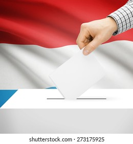 Ballot box with national flag on background series - Luxembourg