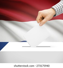 Ballot box with national flag on background series - Netherlands