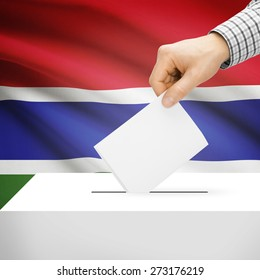 Ballot box with national flag on background series - Gambia