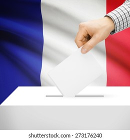 Ballot box with national flag on background series - France
