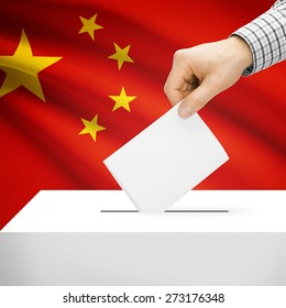 Ballot box with national flag on background series - China