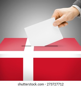 Ballot box painted into national flag colors - Denmark
