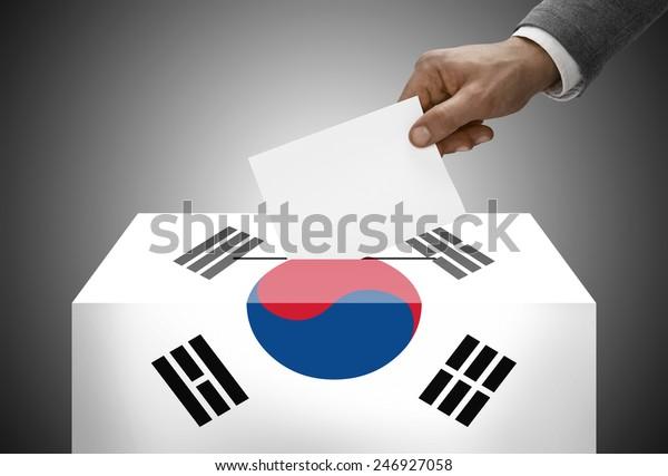 Ballot box painted into national flag colors - South Korea