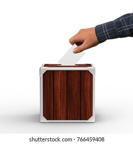 Ballot box with person hand casting a vote, Suggestion box  on isolated white background, 3d illustration