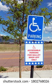Ballot Box for Primary Election - All Mail-In Voting With Wheelchair Handicap Accessible Parking