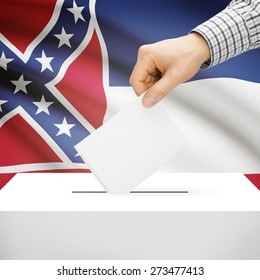 Ballot box with US state flag on background series - Mississippi