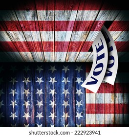 Ballot and wooden box on Flag of USA, voting concept design