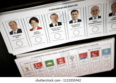 Ballots in polling station during the Turkish Presidential and General elections in Brussels, Belgium on Jun. 15, 2018