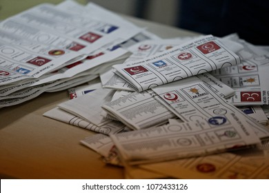 Ballots in polling station in Istanbul, Turkey on Nov. 1, 2015