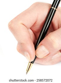 Ballpoint pen in female hand isolated on white