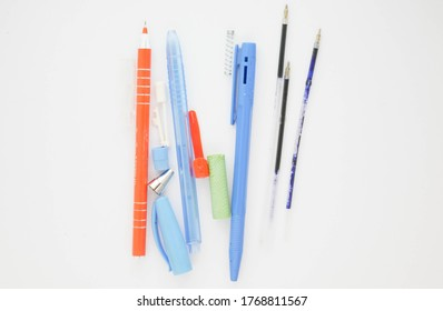 ballpoint pen isolated on white background. Pivot of the ball pen. Ballpoint parts.