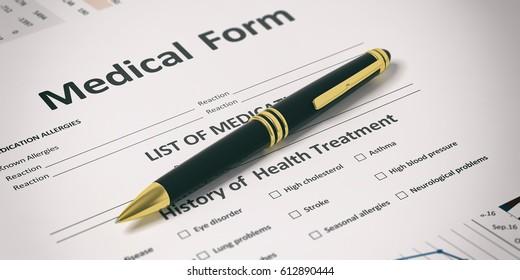 Ballpoint pen on a medical form. 3d illustration