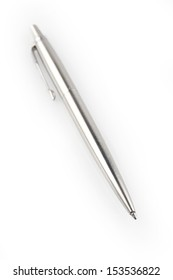 Ballpoint pen on plain background