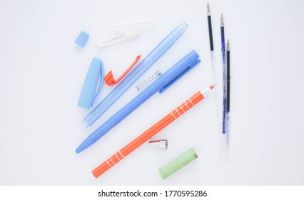 ballpoint pen on white background. Pivot of the ball pen. Ballpoint parts.
