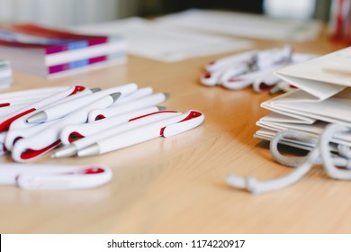 Ballpoint pens as merchandising to promote a company, empty space.