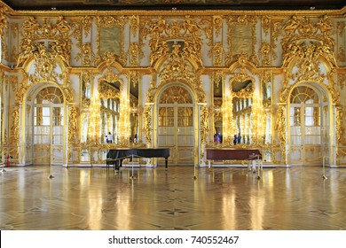 Ballroom of the Catherine Palace, Pushkin (Tsarskoye Selo), Saint Petersburg, Russia.  Picture taken in May 2016 in Pushkin, Saint Petersburg, Russia