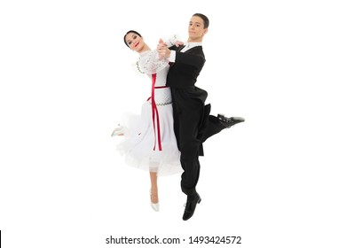 ballroom dancers. ballroom dance couple in a dance pose isolated on white background. ballroom sensual professional dancers dancing walz, tango, slowfox and quickstep just dance