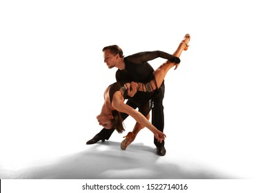 Ballroom dancing isolated on white.