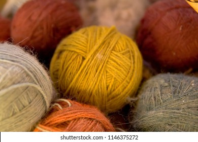 Balls of alpaca wool, made by hand