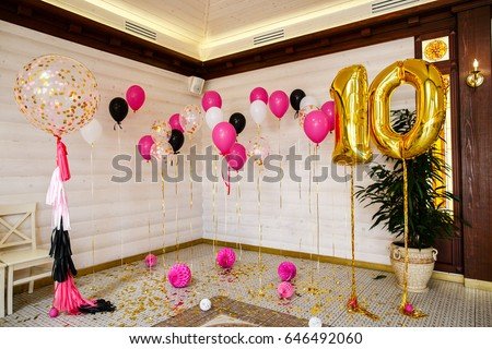 Balls Balloons Room Decorated Birthday Party Stock Photo Edit Now
