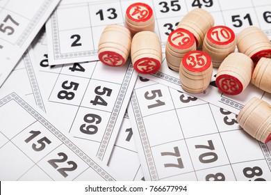Balls with bingo numbers, bingo cards. Lotto. Flat lay.