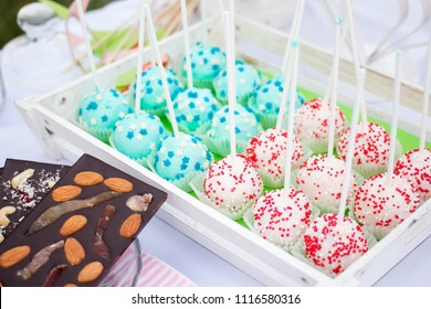 Balls of biscuit on a stick loli pop. cake pop. candy bar