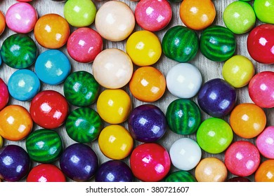 balls of colored chewing gum background