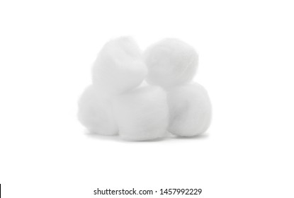 Balls of fluffy cotton wool isolated on white background.