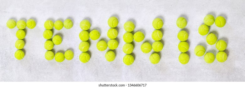 Balls making a shape tennis word. Website banner format