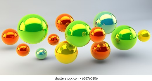 Balls on a white background. 3d image.